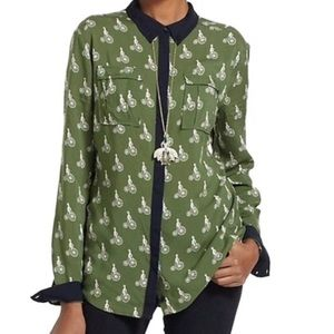 Anthro Maeve Bagatelle Green bicycle button down